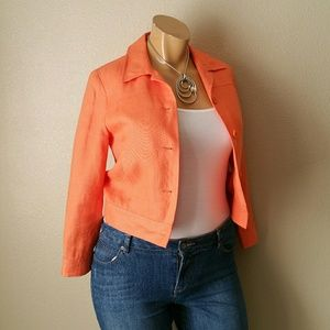 Talbots Irish Linen Orange Jacket